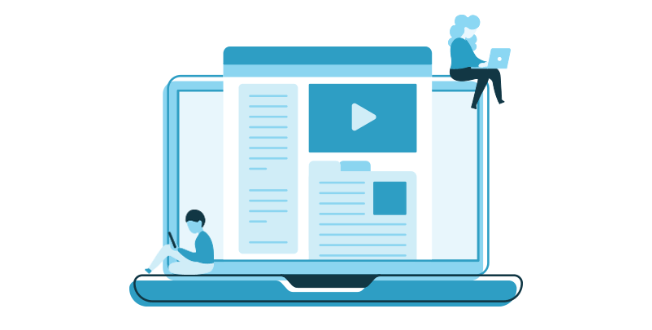 Blue graphic of a laptop with two figures sitting on both side